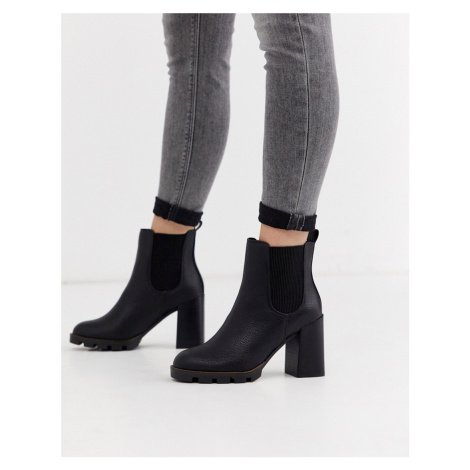 River Island chunky cleated heeled chelsea boots in black