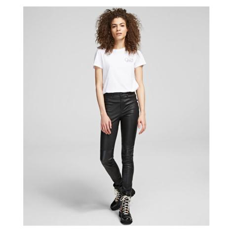 Kalhoty Karl Lagerfeld Leather & Patent Biker Pant - Černá