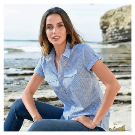 Blancheporte Pruhovaná košilová halenka bílá/modrá