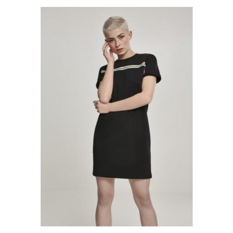 Urban Classics Ladies Multicolor Taped Terry Dress black
