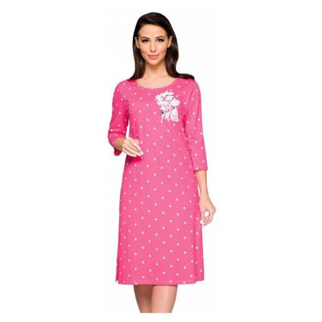 Dlouhá dámská košilka Sandra růžová květ Regina