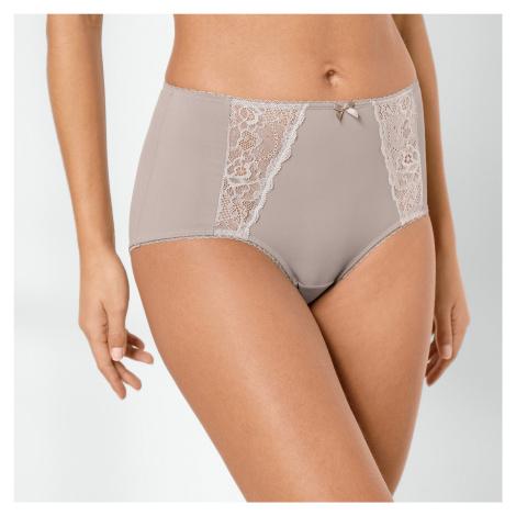 Blancheporte Stahující kalhotky s výšivkou, efekt plochého bříška hnědošedá