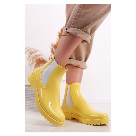 Žluté kotníkové holínky Chelsea Mei