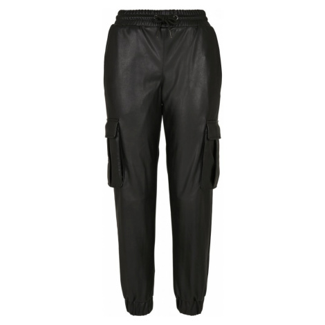 Ladies Faux Leather Cargo Pants Urban Classics