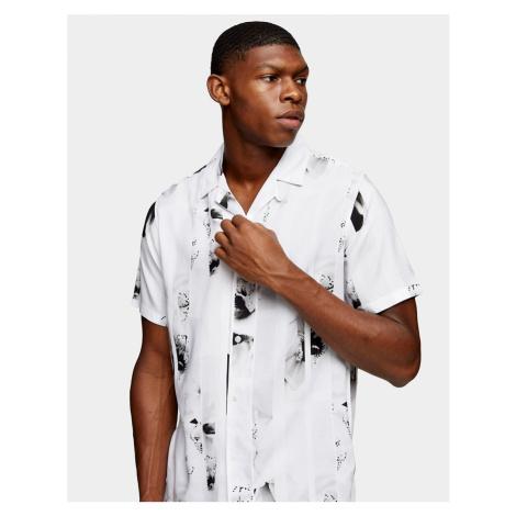Topman stripe floral slim shirt in black and white
