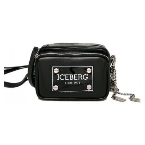 Černá lesklá kožená kabelka ICEBERG