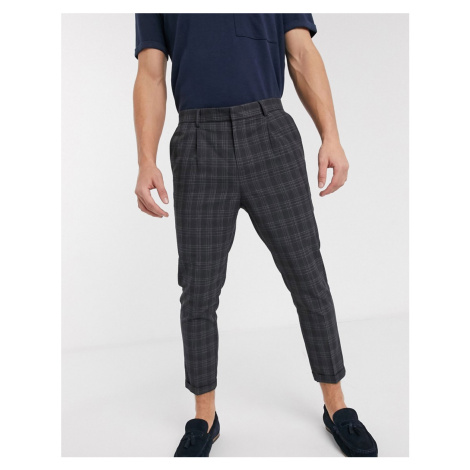 New Look highlight blue check trouser in dark grey