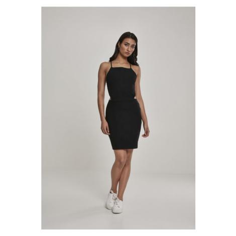 Ladies Short Spaghetti Pique Dress - black Urban Classics