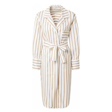 BOSS Casual Košilové šaty 'C_Disso' béžová / bílá