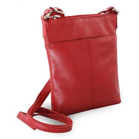 Červená kožená zipová crossbody Jenny Arwel
