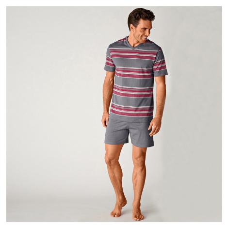 Blancheporte Pyžamo se šortkami, proužky šedá/červená