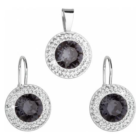 Sada šperků s krystaly Swarovski náušnice a přívěsek černé kulaté 39107.3 Victum