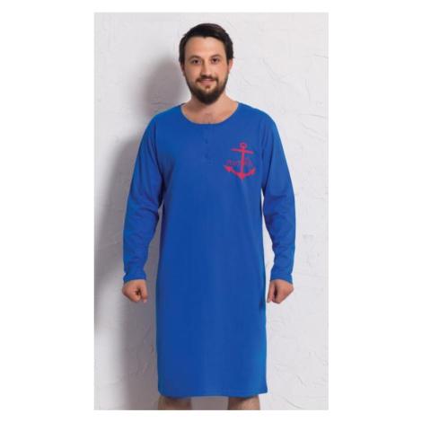Pánská noční košile s dlouhým rukávem Vienetta Secret Kotva | modrá