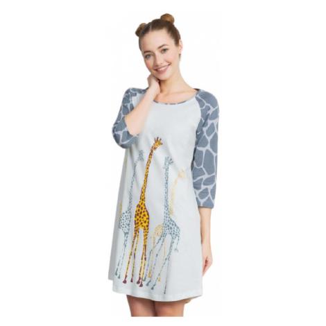 Dámská noční košile s tříčtvrtečním rukávem Vienetta Secret Žirafy   smetanová