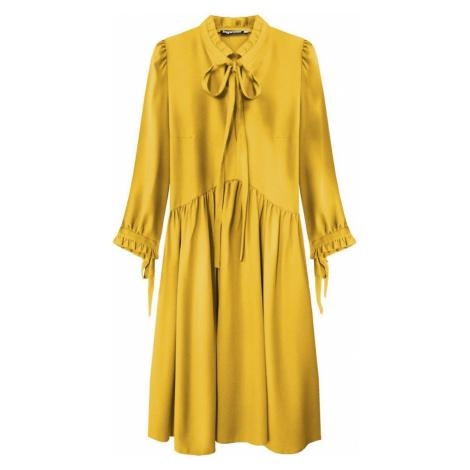 Dámské šaty v hořčicové barvě s volánkovým stojáčkem (208ART) žlutá INPRESS