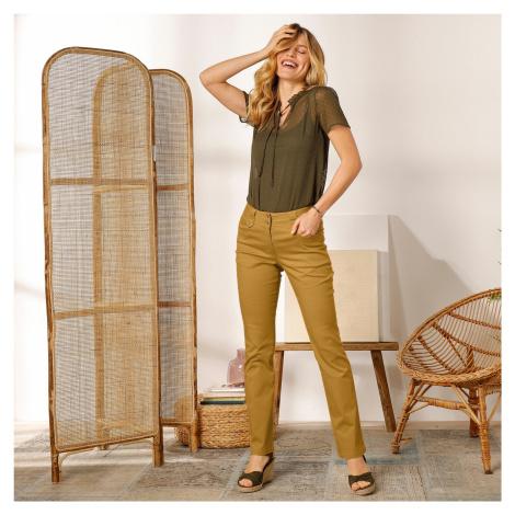 Blancheporte Rovné kalhoty s vysokým pasem, malá postava šafránová