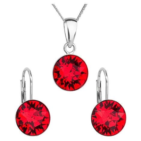 Evolution Group Sada šperků s krystaly Swarovski náušnice, řetízek a přívěsek červené kulaté 391