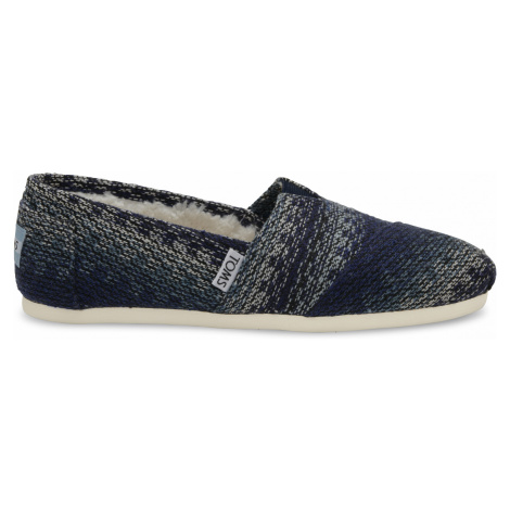 CLASSIC-Blue Multi Stripe Woven With Shearling Toms