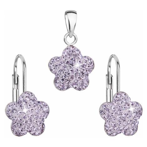 Evolution Group Sada šperků s krystaly Swarovski náušnice a přívěsek fialová kytička 39145.3