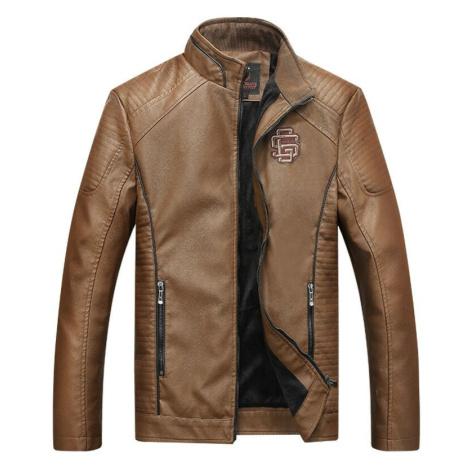 Zimní kožená bunda s teplou podšívkou bunda na zip s nášivkou