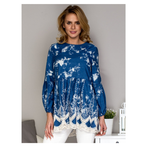 Women´s tunic with a decorative blue lace Fashionhunters