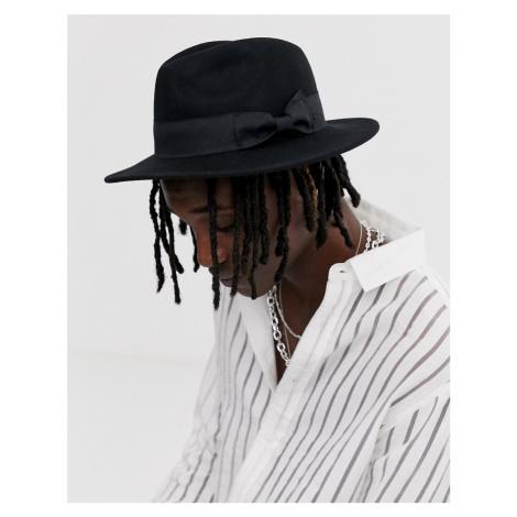 ASOS DESIGN fedora hat in black