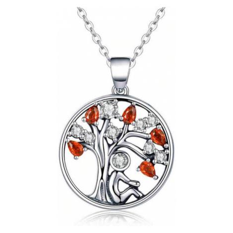 Náhrdelník ze stříbra Strom štěstí života s barevnými kamínky zirkony
