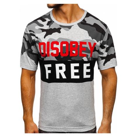 Чоловіча футболка з принтом камуфляж-сіра Bolf 6308 RIPRO