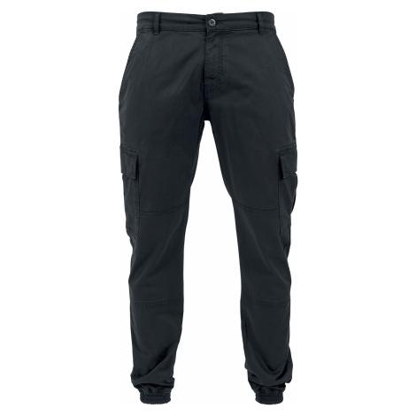 Urban Classics Keprové joggingové kapsáče s opraným efektem Cargo kalhoty černá