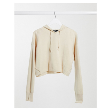Bershka knitted hoodie co-ord in vanilla-White