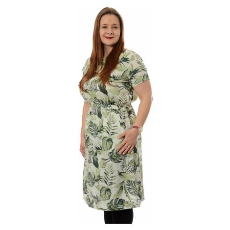 Šaty Timezone Printed Basic Dress dámské zeleno-bílé