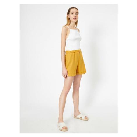 Koton Women Yellow Comfortable Cut Linen Sort