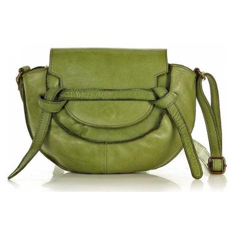 Marco mazzini zelená kožená crossbody kabelka