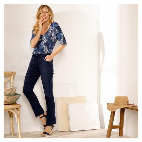 Blancheporte Rovné kalhoty s vysokým pasem, malá postava námořnická modrá