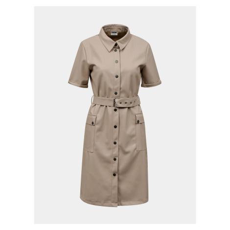 Noisy May béžové koženkové košilové šaty