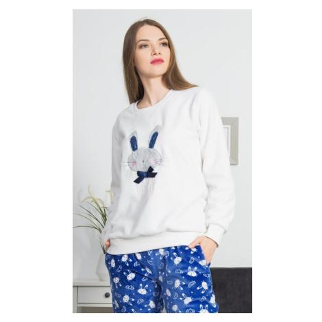 Dámské pyžamo dlouhé Králík s mašlí, XL, modrá Vienetta Secret