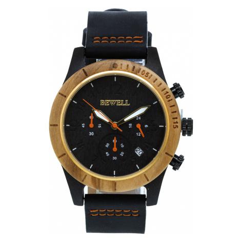 Dřevěné hodinky Lath hnědé Bewell