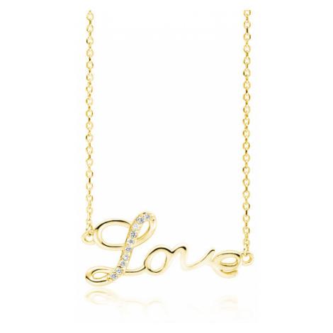 OLIVIE Stříbrný náhrdelník LOVE GOLD 4081