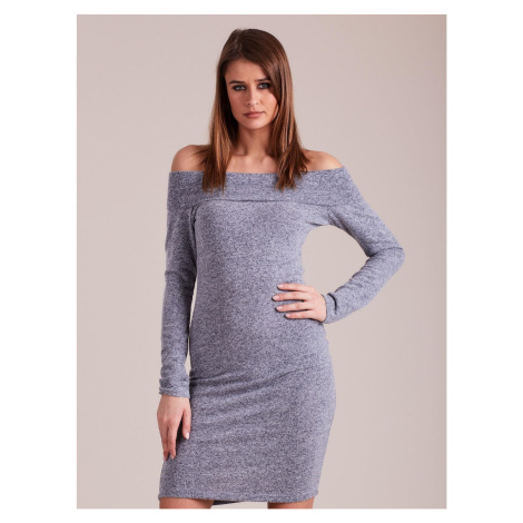 Knitted dress revealing the shoulders blue Fashionhunters