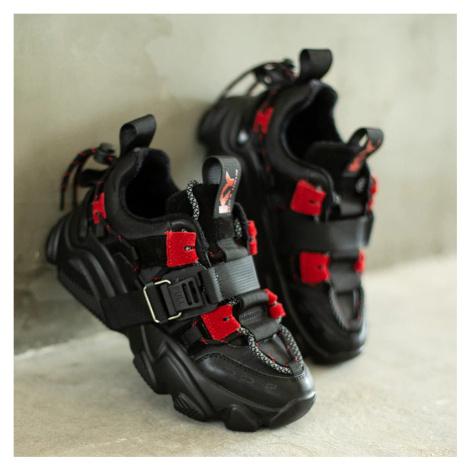 Sportovní boty na platformě dámské sneakers z pravé kůže s páskem