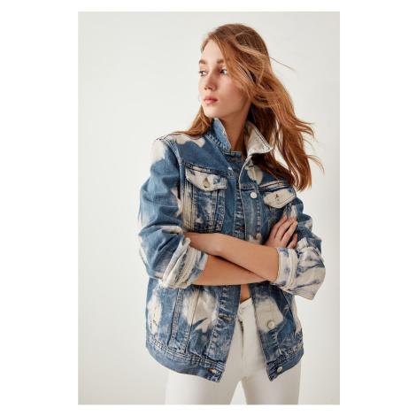 Trendyol Blue Paint-Effect Denim Jacket