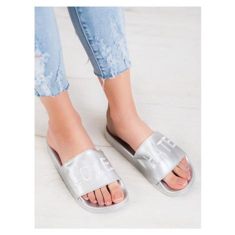 Pěkné nazouváky šedo-stříbrné dámské bez podpatku SMALL SWAN