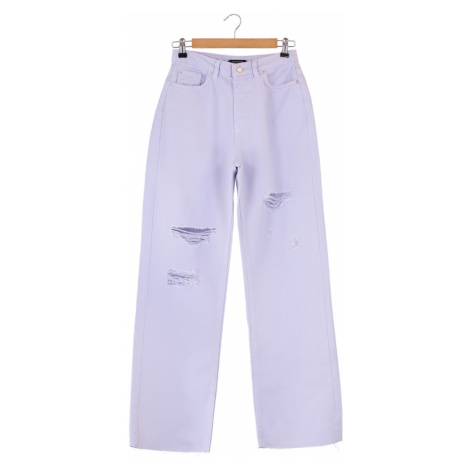 Trendyol Lilac Ripped Detailed High Waist Wide Leg Jeans