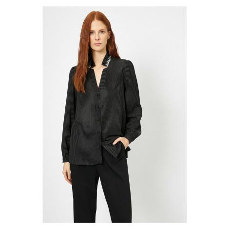 Koton Women's Black Button Detail shirt