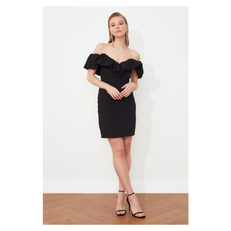 Trendyol Black Collar Detailed Poplin Dress