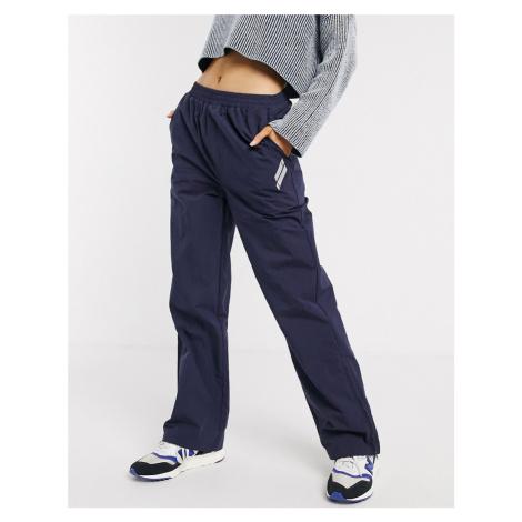 ASOS DESIGN straight leg jogger with zip hem in navy