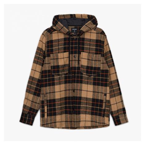 Cropp - Kostkovaná košile s kapucí - Žlutá