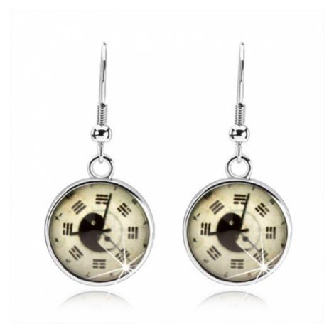 Kruhové náušnice, kabošon, hodinky, jin jang, trigramy, světle žlutý podklad Šperky eshop