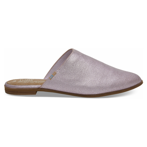 Lavender Metallic Leather Women's jutti mules Toms
