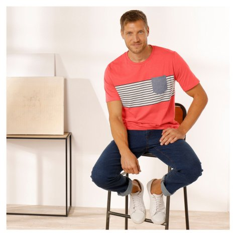 Blancheporte Pruhované tričko s krátkými rukávy oranžová